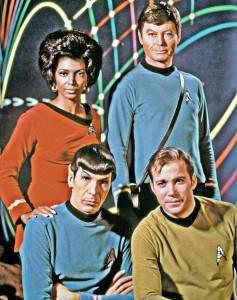 Part of the original cast of Star Trek.  Nichelle Nichols, DeForest Kelley, Leonard Nimoy and William Shatner.