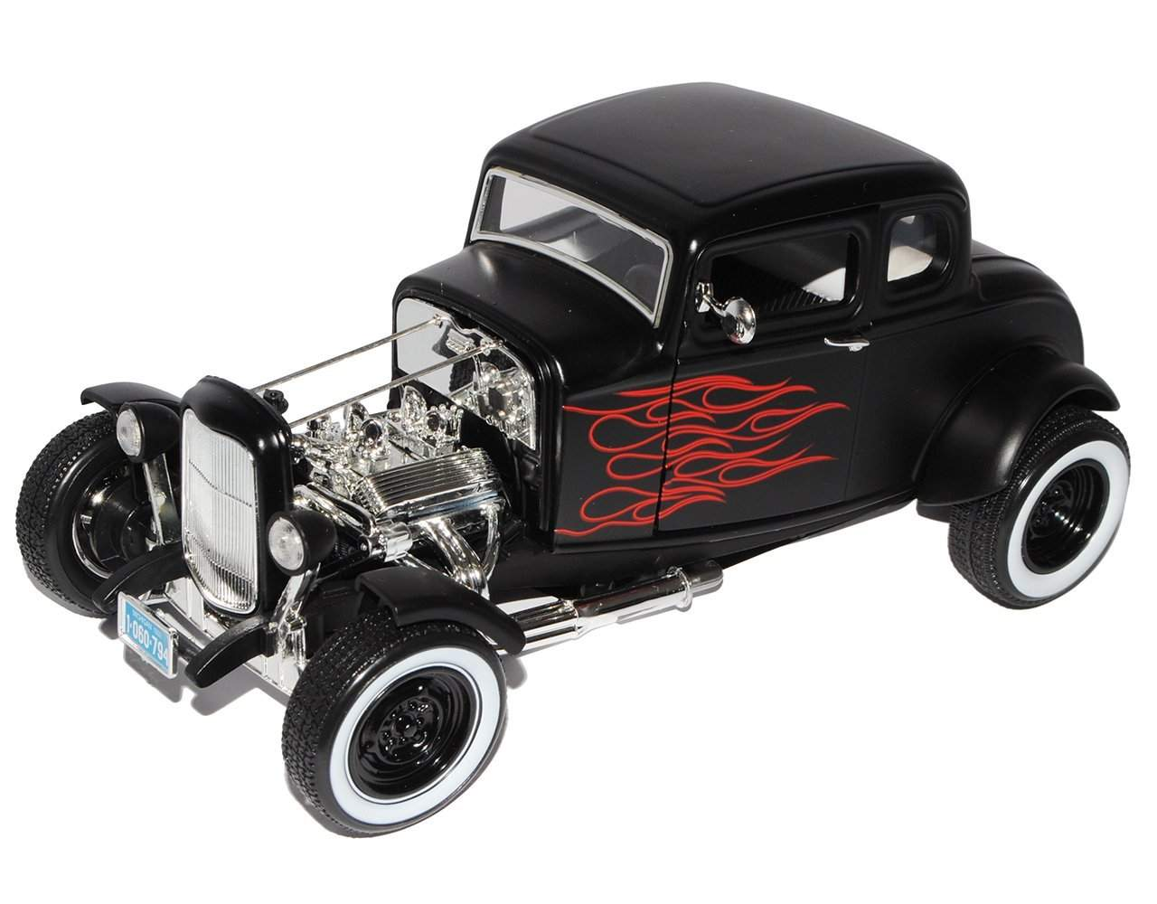 1932 Ford Coupe Hot Rod Black w/ Red Flames (1:18 Scale)