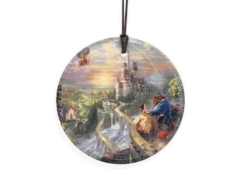 StarFire Prints Glass Ornament Thomas Kinkade Disney (Beauty and the Beast Falling in Love)