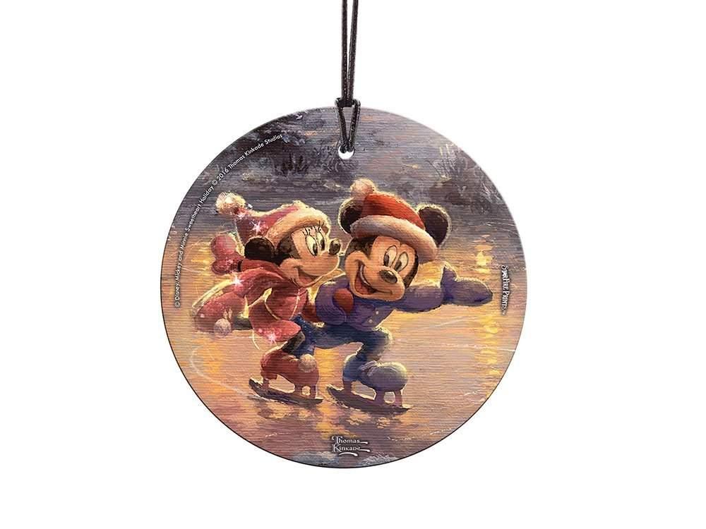 StarFire Prints Glass Ornament Thomas Kinkade Disney (Mickey and Minnie Sweetheart Bridge)
