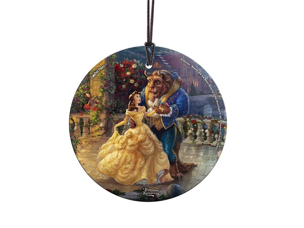 starfire prints glass ornament thomas kinkade disney beauty and the beast dancing in the moonlight - Disney Beauty And The Beast Christmas Decorations
