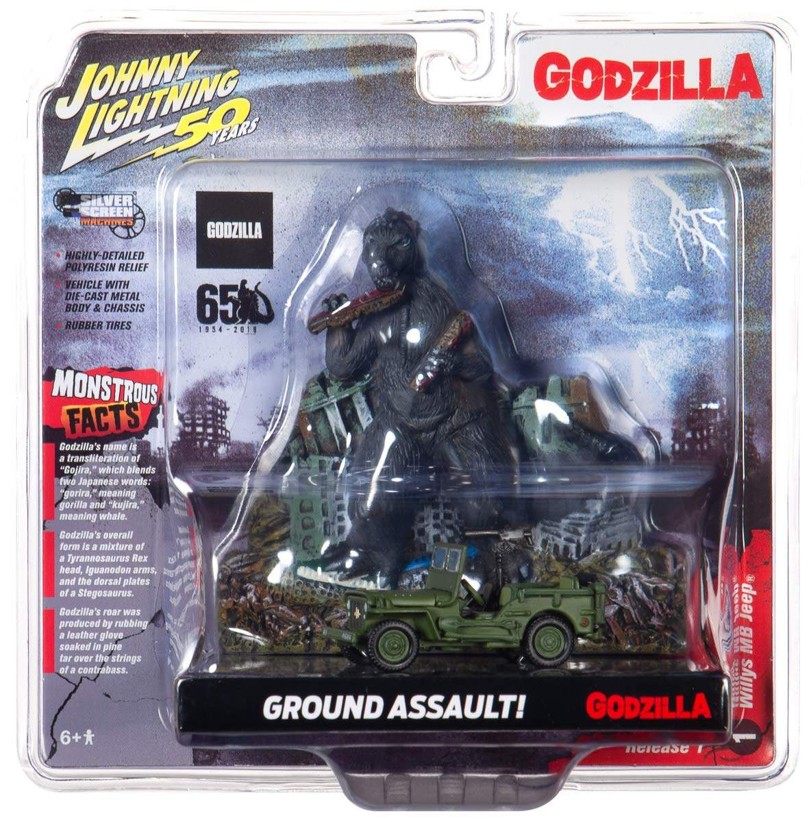 Johnny Lightning Godzilla Silver Screen Series Façade Diorama – Japan Poilce Reserve Corps. Willys MB Jeep